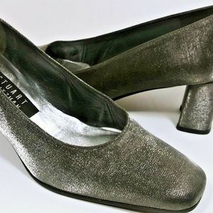 Stuart Weitzman Pewter Silver Satin Shimmer Heels